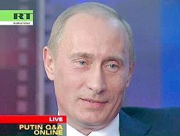Владимир Путин отвечает на вопросы интернет-конференции. Кадр телеканала Russia Today