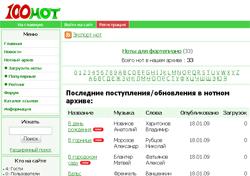 """Новый нотный архив – сайт """"100 Нот"""""""