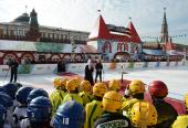 На Красной площади в Москве открылся 4-й детский турнир по русскому хоккею