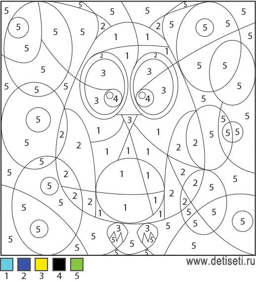 Раскраски по цифрам: Сова