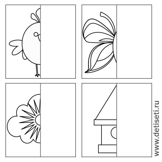 Птичка, бабочка, скворечник и солнышко с тучкой