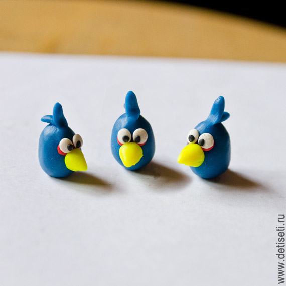 Angry Birds: Синие птички (Джей, Джейк и Джим) из пластилина