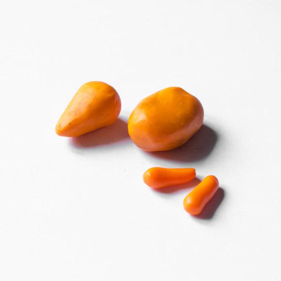 Из оранжевого пластилина слепите продолговатое тельце, вытянутую голову и передние лапки