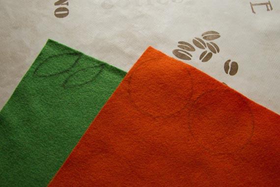 Нарисуйте контуры деталей для изготовления мандаринов