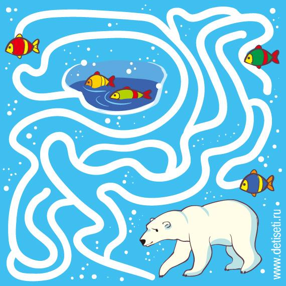 Белый медведь ловит рыбу