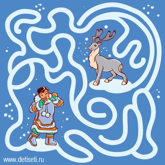 Эскимос и олень в тундре
