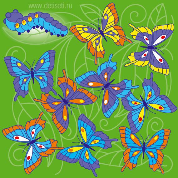 Гусеница и бабочки