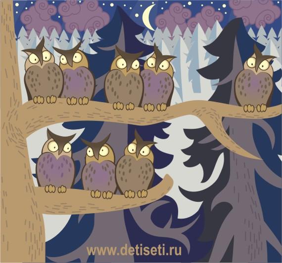 Совы в ночном лесу