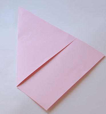 сложите лист по диагонали