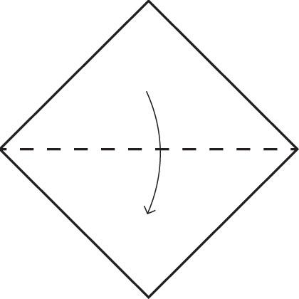 Возьмите квадратный лист бумаги и перегните по диагонали