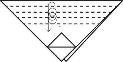 Несколько раз заверните верхнюю часть треугольника