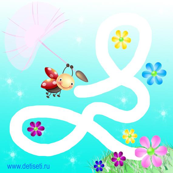 Божья коровка и цветочная полянка