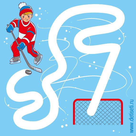 Хоккеист забивает шайбу