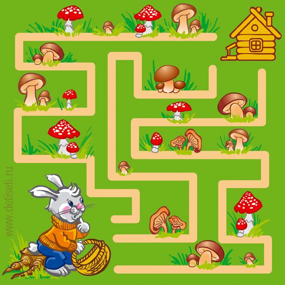 Зайка собирает грибы