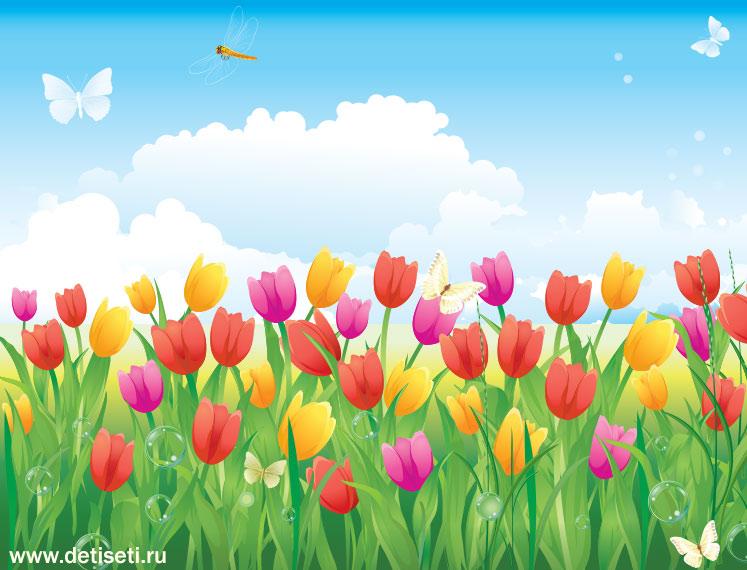 Бабочки на весеннем лугу