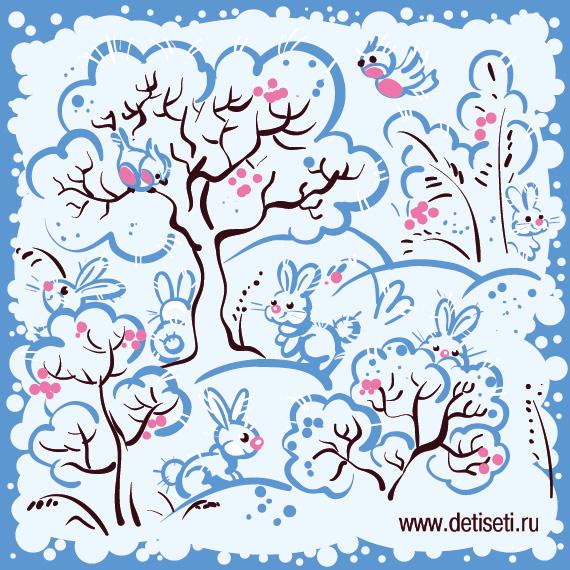 Зайчики в зимнем лесу